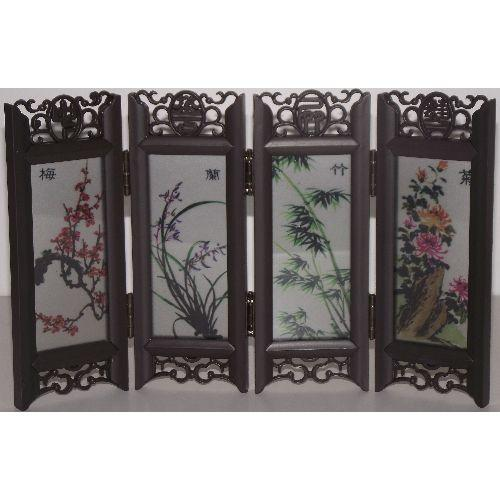 Chinese tabletop screen painted with the four gentlemen,