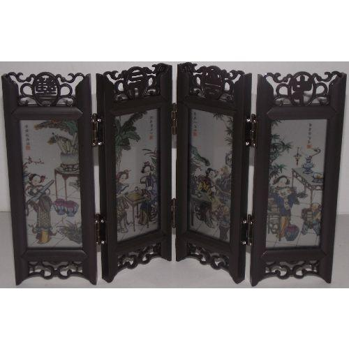 Chinese ornamental screens with painted oriental women,