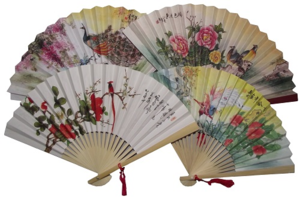Assorted Chinese paper fans with oriental patterns,