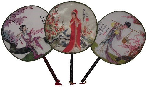 Chinese palace fans decorated with oriental patterns,