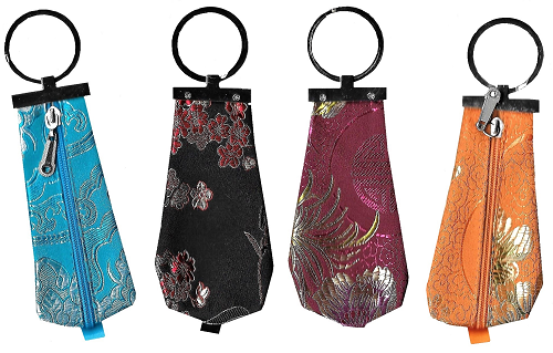 Chinese keyrings with a zipped silk brocade pouch,
