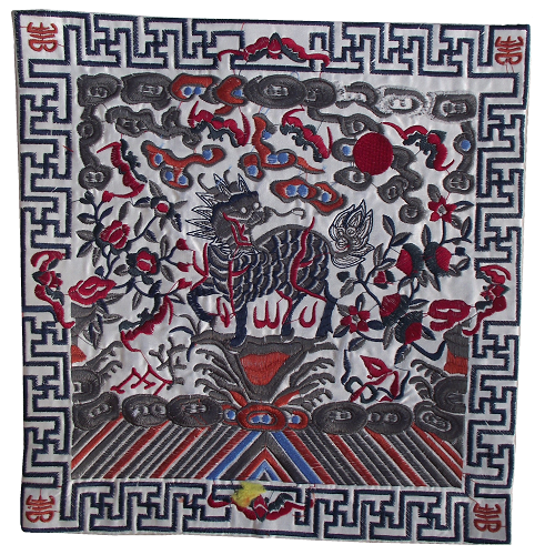 Chinese place mats with embroidered Kirin figures,
