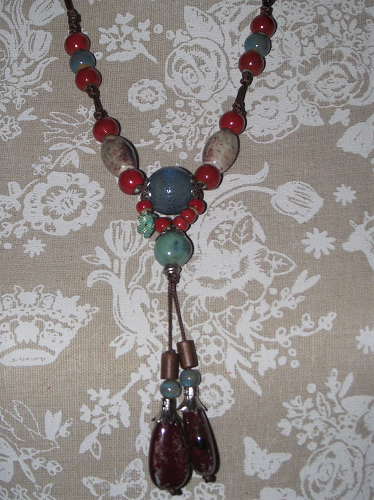 Vintage style oriental necklace with red and turquoise ceramic beads,