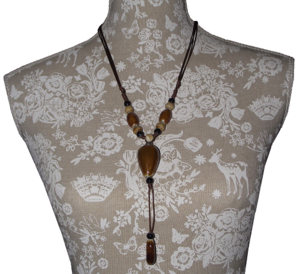 Oriental fashion necklace with large hand painted ceramic beads,