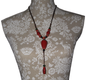 Fashionable statement necklaces with hand painted ceramic beads,