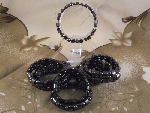 Hematite fashion bracelets with natural non-magnetic crystals,