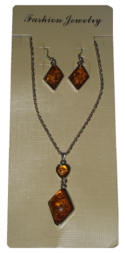 Necklace and earring sets with amber colour glass stones,