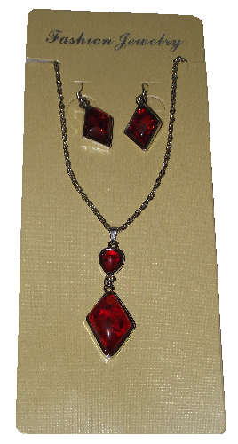 Fashion jewellery sets with red tree resin effect glass beads,