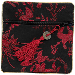 Black Chinese coin purse with a red lucky knotted tassel,