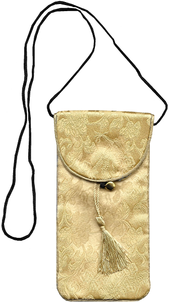 Gold Chinese style phone pouches with oriental floral patterns,