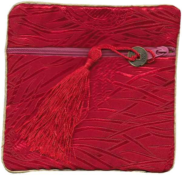 Red and gold silk purse with a lucky Chinese coin tassel,