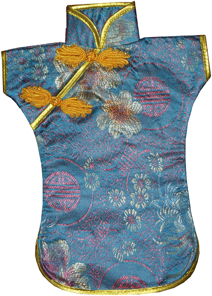 Turquoise blue bottle jackets with oriental patterns,