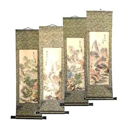 Chinese landscape and calligraphy scrolls,