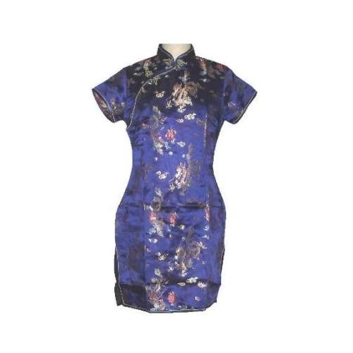 Short blue Chinese dress with dragon and phoenix figures,