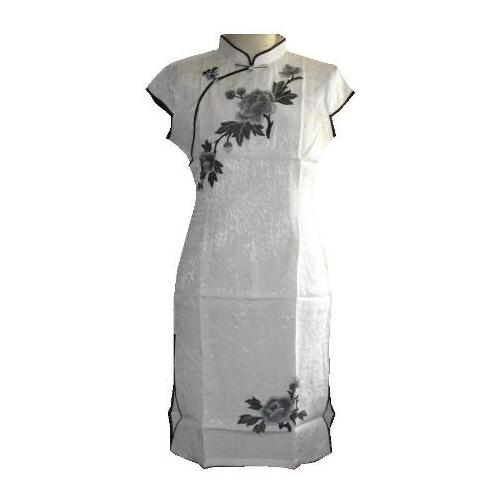 Ladies white Chinese dress with embroidered peony tree flowers,