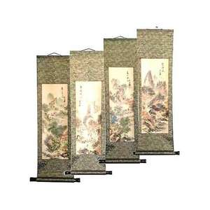 Chinese landscape paintings in a silk brocade wall scroll,