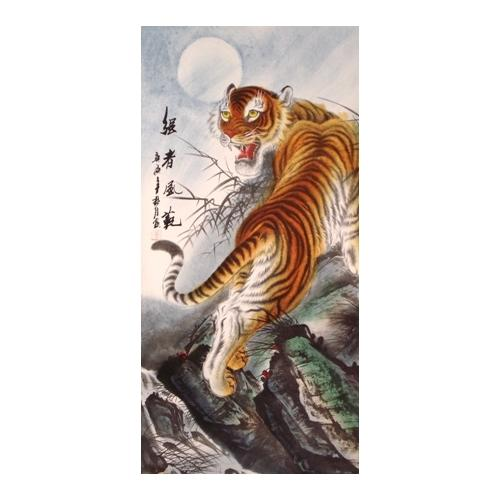 Large Chinese wall scrolls with a mountain tiger,