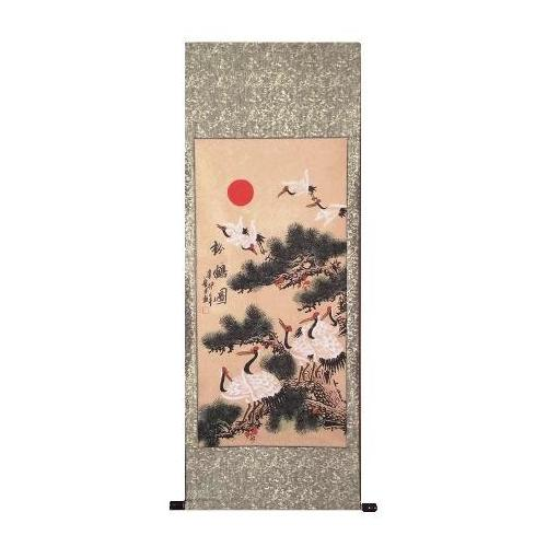 Chinese painted wall scroll with cranes and pines,
