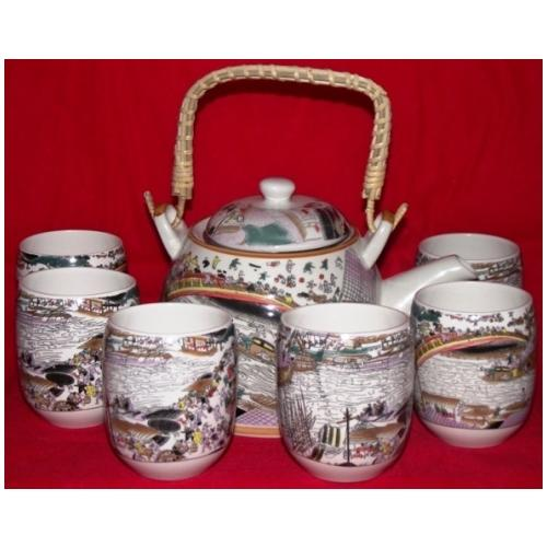 Chinese style tea set with oriental village scenery,