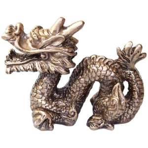 Small gold Chinese snake dragon figurines,