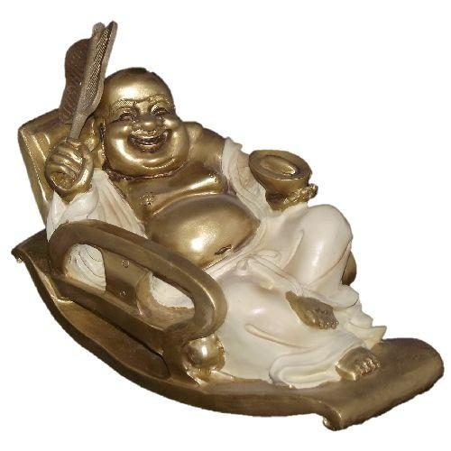 Large reclining Buddha statue with an ingot and hand fan,