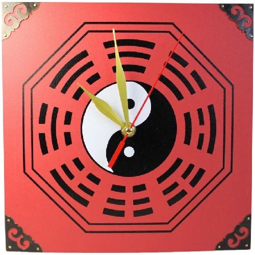 Chinese bagua wall clock with yin yang symbols,