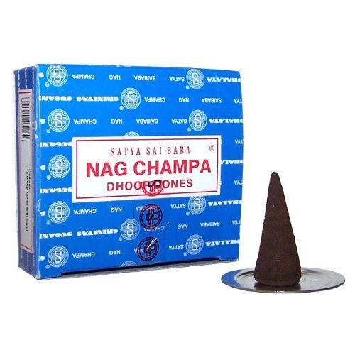 Nag Champa dhoop incense in a box of twelve cones,