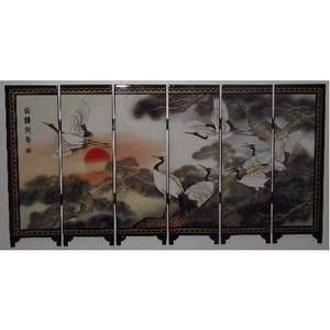 Chinese tabletop screens with Cranes and pine trees,
