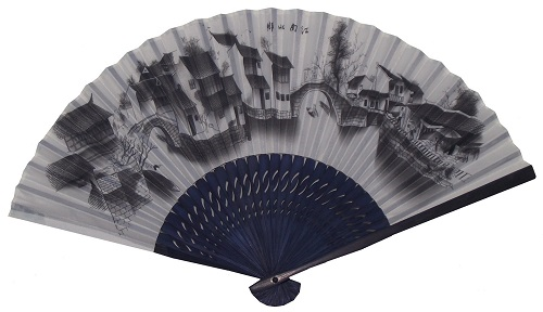 Silky Chinese fans with blue patterned bamboo fretwork,