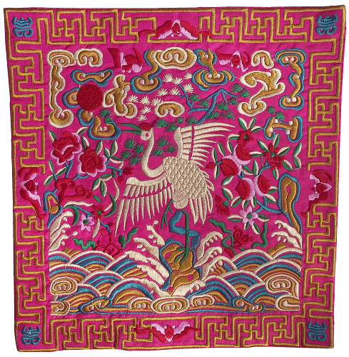 Dark pink Chinese table mats with embroidered white Cranes,
