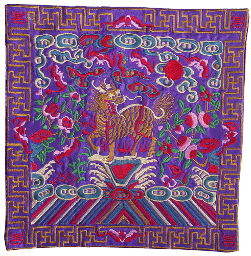 Purple embroidered table mats with Chinese kirin and floral patterns,