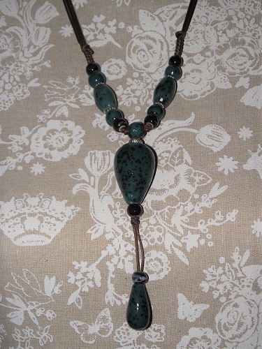 Hand painted ceramic necklaces with silver oriental style spacers,