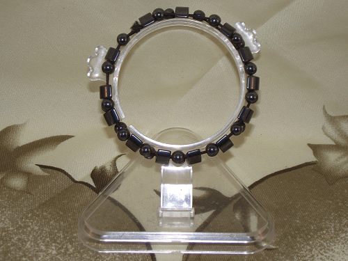 Hematite fashion bracelets with non-magnetic crystal gemstones,