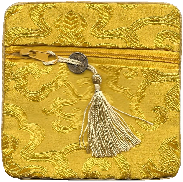 Gold silk purse with a lucky Chinese coin tassel,