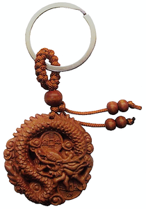 Chinese snake dragon keyrings with fruit wood beads,