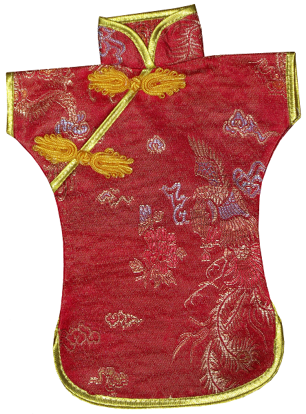 Red Chinese silk wine bottle covers,