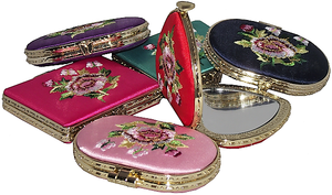 Chinese style compact mirrors embroidered with oriental flowers,
