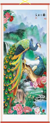 Chinese wall scroll decorated with colourful peacocks,
