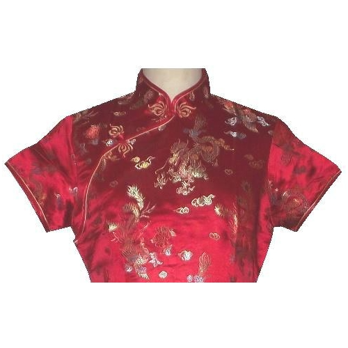 Short red Chinese dress with silk brocade dragon and phoenix figures,