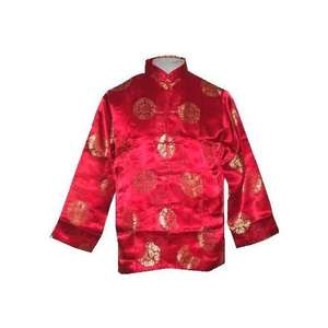 Red Chinese jackets with gold silk brocade symbols,