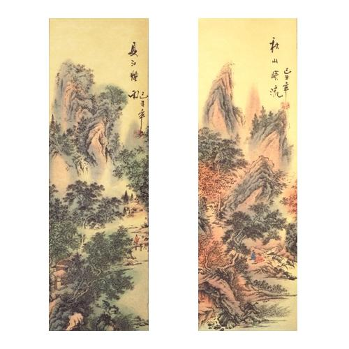 Chinese wall scroll with an oriental landscape painting,