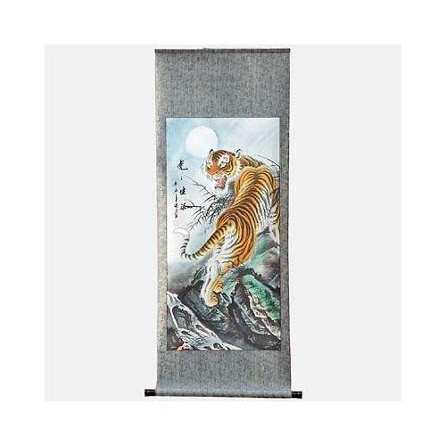 Chinese tiger wall scroll with an oriental roller,