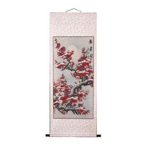 Chinese wall scroll painted with plum blossoms,