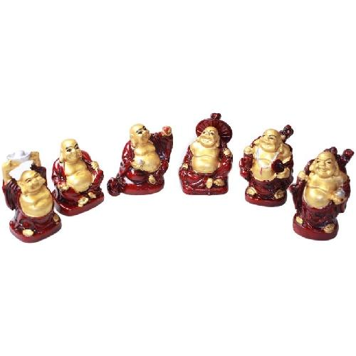 Set of six lucky Buddha's in red and gold resin,