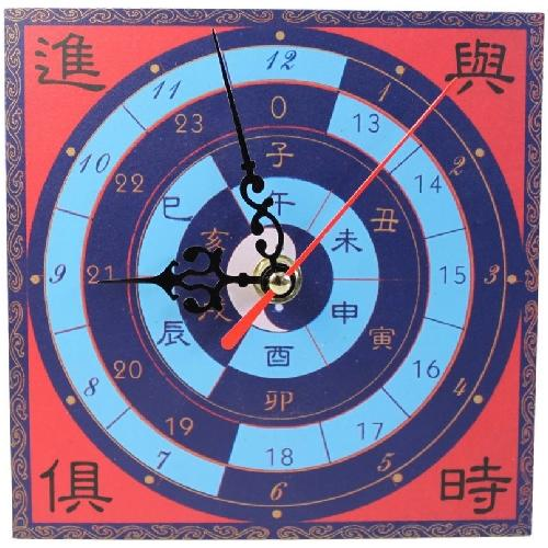 Small wooden feng shui clock with success symbols,