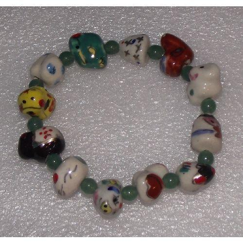 Chinese zodiac charm bracelets with jade spacers,