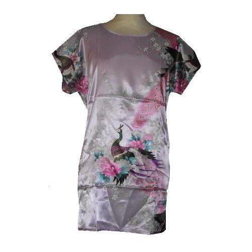 Pink Chinese gown with colourful oriental patterns,