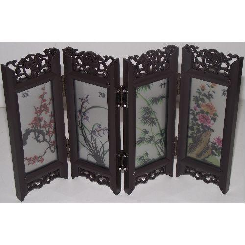Miniature Chinese tabletop screens with glass panels,