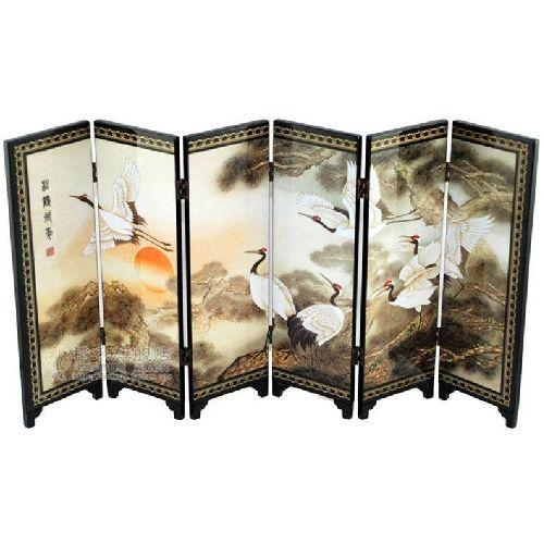 Miniature tabletop screen with Chinese Cranes and pines,