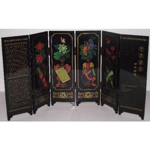 Miniature Chinese screens depicting the four skills,